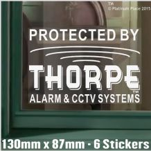 1 x 130mm Thorpe AlarmTM and CCTV Systems Design Window Stickers-Alarm System Installed-Security Warning Window Stickers-Self Adhesive Vinyl Signs